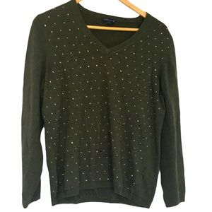 Tommy Hilfiger green sequin V neck sweater XL